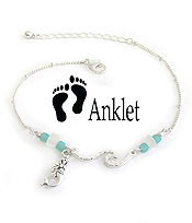 SEA GLASS ANKLET - WAVE AND MERMAID