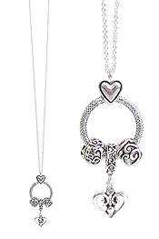 DESIGNER INSPIRATION RING AND CHARM PENDANT NECKLACE - HEART