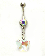 SURGICAL STEEL STEEL WITH CRYSTAL FLOWER DROP BELLY RING  NAVEL RING