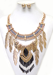 THREE LAYER ROPE METAL FEATHERS DROP NECKLACE SET