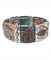CHICOS STYLE VINTAGE METAL BIBLE MESSAGE STRETCH BRACELET