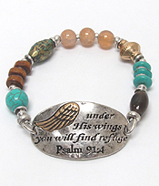 Religious MESSAGE MULTI BEADS AND STONES STRETCH BRACELET - PSALM 91 : 4