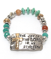 BIBLE MESSAGE MULTI BEADS AND STONES STRETCH BRACELET - THE JOY OF THE LORD IS MY STRENGTH