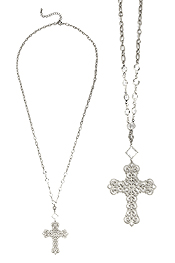 METAL FILIGREE CROSS PENDANT LONG NECKLACE