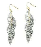 METAL FILIGREE MULTI LEAF DANGLE EARRING
