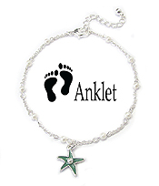 SEALIFE THEME CHARM ANKLET - PEARL AND STARFISH