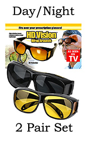 HD VISION WRAPAROUNDS SUNGLASSES DAY/NIGHT VISION GLASSES COMBO PACK(2 PAIR SET)