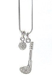 WHITEGOLD PLATING CRYSTAL GOLF CLUB AND BALL PENDANT NECKLACE