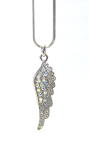 WHITEGOLD PLATING CRYSTAL ANGEL WING PENDANT NECKLACE