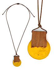 WOOD AND RESIN DISC PENDANT PULL TIE CORD NECKLACE