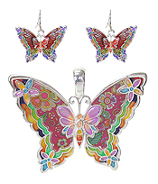 GRAFFITI ART STYLE BUTTERFLY PENDANT AND EARRING SET