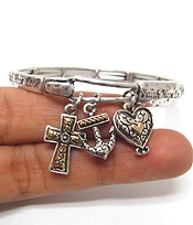 DESIGNER TEXTURED CROSS AND HEART CHARM AND RELIGIOUS MESSAGE STRETCH BRACELET - FAITH HOPE LOVE