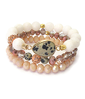 SEMI PRECIOUS STONE MIX 3 STRETCH BRACELET SET