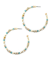 MULTI MIX BEAD HOOP EARRING