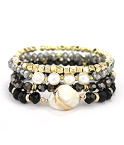 MULTI MIX BEAD 4 STRETCH BRACELET SET