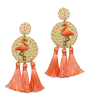 THREAD DISC FLAMINGO AND TASSEL DROP EARRING