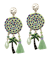 THREAD DISC AND PALM TREE TASSEL DROP EARRING