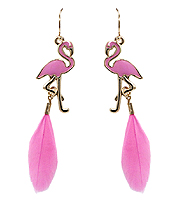 FLAMINGO AND FEATHER EARRING