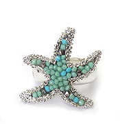 SEEDBEAD STARFISH STRETCH RING