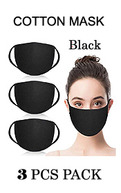 UNISEX BLACK COLOR WASHABLE REUSABLE BREATHABLE COTTON FACE MASK - COTTON 96% SPANDEX 4% (3 PC SET)