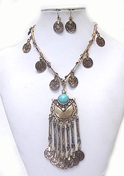 METAL COIN DROP WITH STONE NECKLACE SET