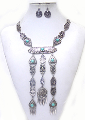 METAL TEXTURED TURQUOISE STONE DROP NECKLACE SET
