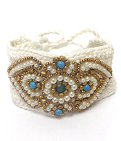 FLOWER LAYER SEEDBEADS PULL AND TIE KNITTED TYPE BRACELET