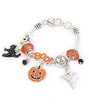 EURO STYLE MULTI BEAD AND CHARM BRACELET - HALLOWEEN