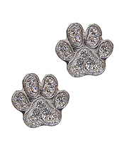WHITEGOLD PLATING CRYSTAL PAW PRINT EARRING