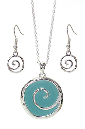 SEA GLASS SWIRL EPOXY PENDANT NECKLACE SET
