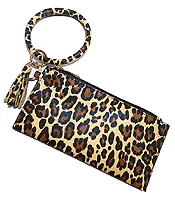 KEYRING BANGLE BRACELET WITH THREE COMPARTMENT PHONE WALLET AND TASSEL - LEOPARD