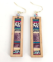 WOOD BAR DROP EARRING - ANIMAL PRINT