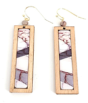 WOOD BAR DROP EARRING - MARBLE