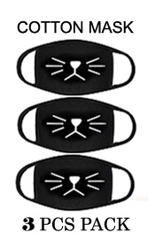 CAT MOUTH  WASHABLE REUSABLE BREATHABLE COTTON FACE MASK - COTTON 96% SPANDEX 4% (3PC SET)