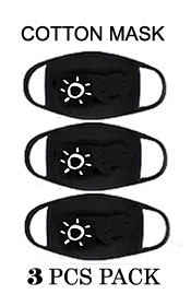 SUN MOUTH  WASHABLE REUSABLE BREATHABLE COTTON FACE MASK - COTTON 96% SPANDEX 4% (3PC SET)