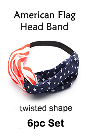6 PC SET - TWISTED AMERICAN FLAG HEADBAND