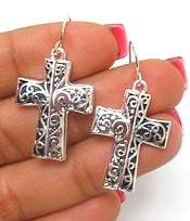 METAL FILIGREE CROSS FISH HOOK EARRINGS