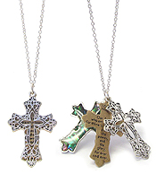 RELIGIOUS INSPIRATION MESSAGE AND ABALONE AND FILIGREE TRIPLE CROSS NECKLACE - LORD'S PRAYER