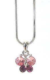 WHITEGOLD PLATING CRYSTAL BUTTERFLY PENDANT NECKLACE