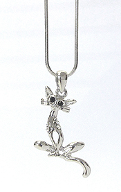 WHITEGOLD PLATING CRYSTAL CAT PENDANT NECKLACE