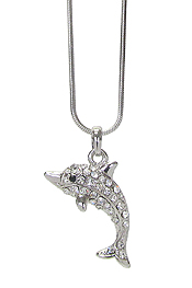 WHITEGOLD PLATING CRYSTAL DOLPHIN PENDANT NECKLACE