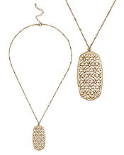 METAL FILIGREE OVAL PENDANT LONG NECKLACE