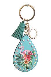 TROPICAL THEME LEATHERETTE KEY CHAIN - FLAMINGO