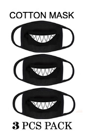 GRIN TEETH  halloweenWASHABLE REUSABLE BREATHABLE COTTON FACE MASK - COTTON 96% SPANDEX 4% (3PC SET)