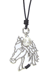 LARGE METAL FILIGREE PENDANT LONG LEATHER CHAIN NECKLACE - HORSE