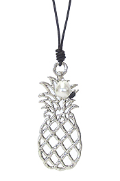 LARGE METAL FILIGREE PENDANT LONG LEATHER CHAIN NECKLACE - PINEAPPLE