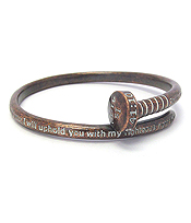 RELIGIOUS INSPIRATION MESSAGE NAIL BANGLE BRACELET - IS 41:10