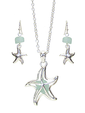 FLOATING SEA GLASS STARFISH PENDANT NECKLACE SET