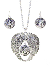 ANGEL WING AND TREE OF LIFE PENDANT NECKLACE SET