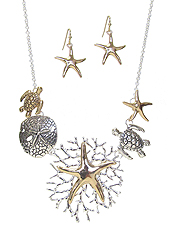 SEALIFE THEME NECKLACE SET - STARFISH AND TURTLE